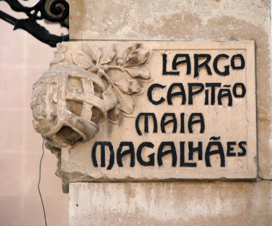 Street sign made of stone in Aveiro, Portugal. Photo by Filipa Cruz